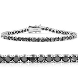 "5 1/2Ct Black Diamond Tennis Bracelet 14k White Gold 7"" (Black, I2-I3)"