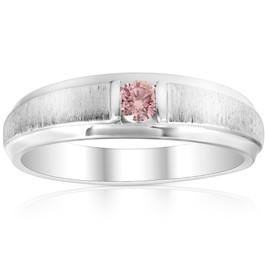 Mens Brushed Pink Diamond Lab Grown Wedding Brushed Anniversary Ring White Gold (Pink, SI(1)-SI(2))