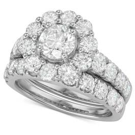 4Ct Diamond Halo Engagement Wedding Ring Set in White Yellow or Rose Gold (H/I, I1-I2)