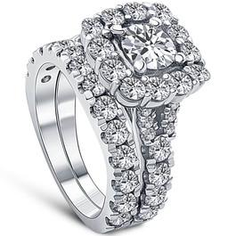 5Ct Cushion Halo Split Ring Diamond Engagement Set in White Yellow Rose Gold (H/I, I1-I2)