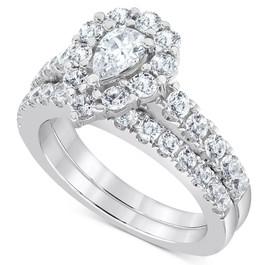 2Ct Pear Shape Halo Lab Grown Diamond Engagement Ring Set 14k White Gold (G/H, VS1-VS2)