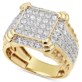 2 1/4Ct Diamond Mens Ring in 10k White Yellow Gold (H, I1-I2)