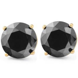 2 1/2Ct Black Diamond Studs 14k Yellow Gold Earrings (Black, AAA)
