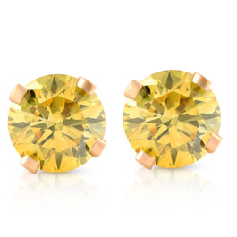 1/4 Ct T.W. Fancy Canary Yellow Lab Diamond Studs 14K Yellow Gold Lab Grown (Yellow, SI(2)-I(1))