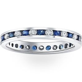 1CT Blue Sapphire & Diamond Channel Set Eternity Wedding Ring 14K White Gold (H/I, I1-I2)