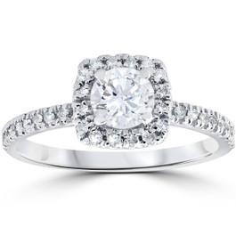 Platinum 1/2 ct T.W. Diamond Engagement Cushion Halo Ring EX3 Lab Grown ((I-J), VS2)
