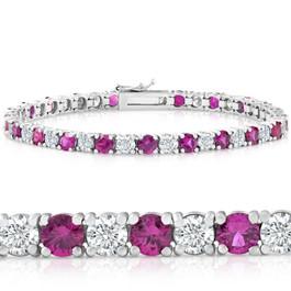 9 1/2 ct Genuine Ruby & Diamond Tennis Bracelet 14K White Gold (K-L, I1)