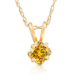 1/4Ct Fancy Canary Yellow Cushion Diamond Lab Grown Pendant Yellow Gold Necklace (Yellow, SI(1)-SI(2))