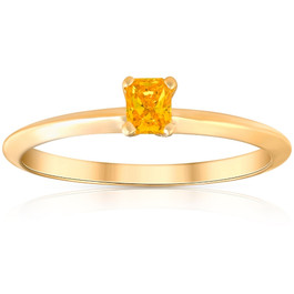 1/4Ct Solitaire Cushion Cut Diamond 14k Yellow Gold Engagement Ring Lab Grown (Yellow, SI(1)-SI(2))