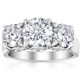 4 5/8 Ct TW Three Stone Diamond Engagement Ring 14k White Gold Lab Grown (I, VS1-VS2)