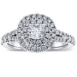 1 1/4 Ct TW Lab Grown Diamond Cushion Halo Engagement Ring in White Gold (((G-H)), SI(1)-SI(2))
