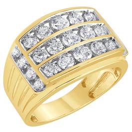 2Ct Men's Diamond Ring 10k Yellow Gold (G/H, I1-I2)