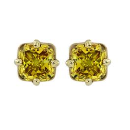 1/2Ct Fancy Canary Yellow Cushion Cut Diamond Studs 14K Yellow Gold Lab Grown (Yellow, SI(1)-SI(2))
