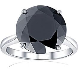 8 Ct Black Moissanite Solitaire Engagement Ring 10k White Gold
