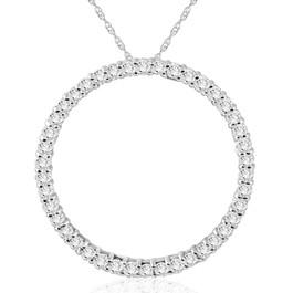 1Ct Circle Diamond Pendant White Gold Necklace Lab Grown ((H-I), SI(2)-I(1))