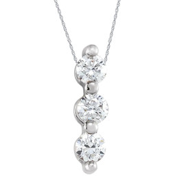 1/2Ct Diamond Necklace Three Stone Pendant in 10k White or Yellow Gold (G-H, I1)