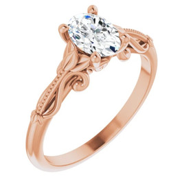 1 Ct Oval Solitaire Diamond Vintage Engagement Ring in Gold Lab Grown (G/H, VS1-VS2)