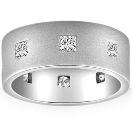1ct Mens Princess Cut Brushed 8mm Flat Comfort Fit Wedding Ring (G/H, SI1-SI2)