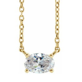 1/3Ct Oval Shape Sideways Solitaire Diamond Necklace in White or Yellow Gold (((G-H)), SI(1))