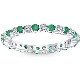 1 cttw Emerald & Diamond Wedding Eternity Stackable Ring 10k White Gold (G/H, I1-I2)