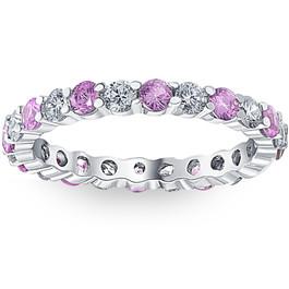 1 cttw Pink Sapphire & Diamond Wedding Eternity Ring 10k White Gold (G/H, I1-I2)