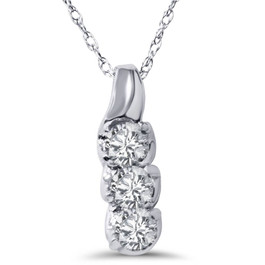 1/3ct Diamond Pendant 10k White Gold (H, I2)