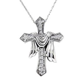 1/4ct Real Diamond Fancy Cross Pendant 14K Necklace (G/H, I1)