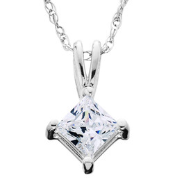 1/4ct Princess Cut Solitaire Diamond Pendant 14K White Gold (G/H, I1)