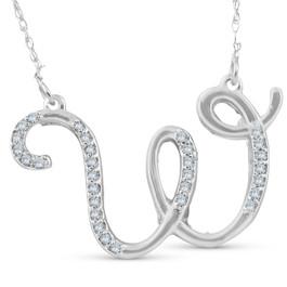 "1/4ct Diamond ""W"" Initial Pendant 18"" Necklace 14K White Gold (G/H, I2)"