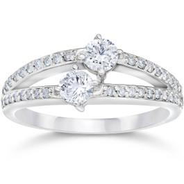 5/8 Carat 2 Stone Forever Us Diamond Ring 14K White Gold (H/I, I1-I2)