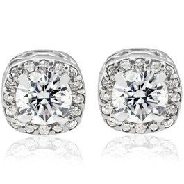 3/4CT Round Diamond Cushion Halo Studs 14K White Gold (G/H, I1-I2)