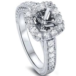 1/2ct Cushion Cut Halo Diamond Vintage Engagement Ring Setting (G/H, SI1-SI2)