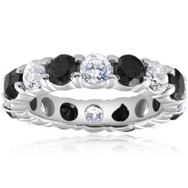 5ct Black & White Diamond Eternity Ring 14K White Gold (G/H, I2-I3)