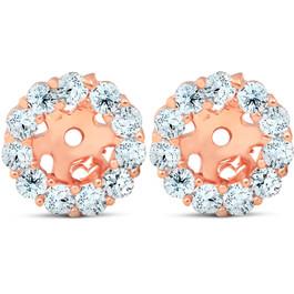 3/8ct Halo Diamond Earring Jackets 14K Rose Gold (4mm) (H-I, I3)