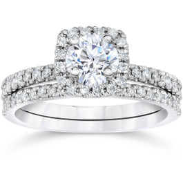 5/8 Carat Cushion Halo Diamond Engagement Wedding Ring Set White Gold (H/I, I2-I3)