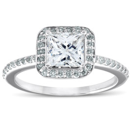 1 1/10ct Princess Cut Enhanced Diamond Engagement Halo Ring 14k White Gold ((G-H), SI(1)-SI(2))