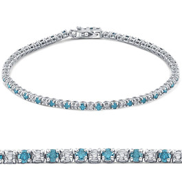 "2ct Blue & White Alternating Diamond Tennis Bracelet 14K White Gold 7"" (G/H, I2)"