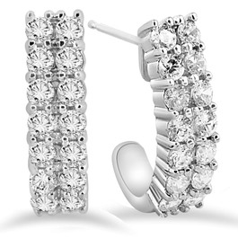 "1 3/8 CT Natural Diamond Hoops White Gold 3/4"" Tall (H-I, I2)"