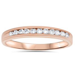 1/4ct Channel Set Diamond Wedding Ring 14K Rose Gold (H/I, I1-I2)