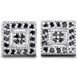 1/3ct Pave Black Diamond Studs 10K White Gold (Black, AAA)