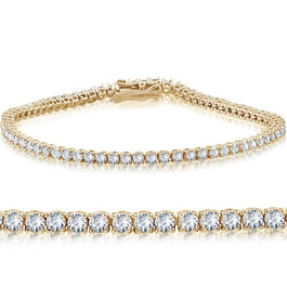 "14k Yellow Gold 3 ct Round Cut Diamond Tennis Bracelet 7"" (G-H, I1)"