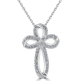"Certified 1/3 Ct Diamond Cross 14K White Gold With 1"" Tall Necklace (G-I, VS1-I1)"