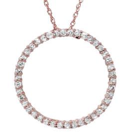 1ct Circle Diamond Pendant 14K Rose Gold (G/H, I2)