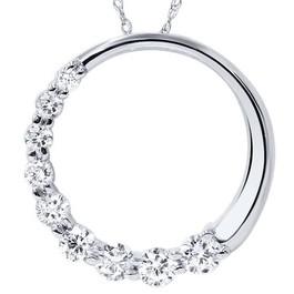 14K White Gold 1/2ct Circle Journey Diamond Pendant (G/H, I1)