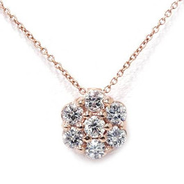 1/2ct Pave Fire Diamond Solitaire Pendant 14K Rose Gold (G/H, I1)