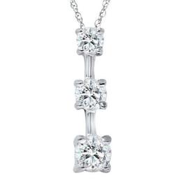 2 cttw 3-Stone Round Diamond Pendant Necklace 14k White Gold (G/H, I1)