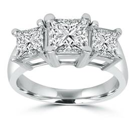 2ct 3 Stone Princess Cut Real Diamond Engagement Ring 14K White Gold (H/I, SI2)