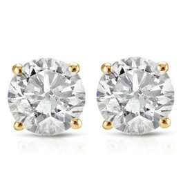 1ct Round Diamond Stud Earrings in 14K Yellow Gold with Screw Backs (I-J, I1)