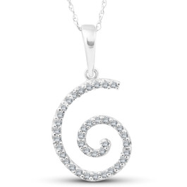 1/10ct Diamond Spiral Pendant 14K White Gold (G/H, I2)