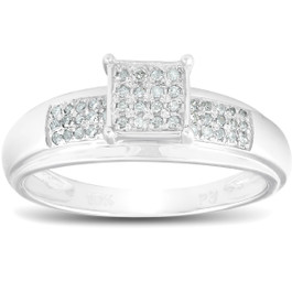 1/4ct Princess Cut Diamond Engagement Pave Ring Solid 10K White Gold (G/H, I2-I3)